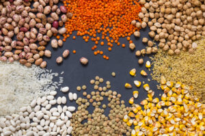 White beans, lentils, bulgur, chickpeas, kidney beans, corns, rice, Mix organic legume