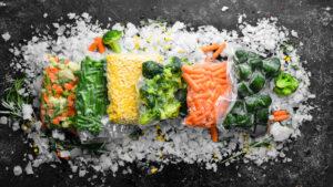 Assortment of frozen vegetables on ice - Sunleaf Foods