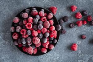 a bowl of frozen fruits