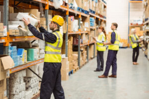 co-packers checking inventory in a warehouse